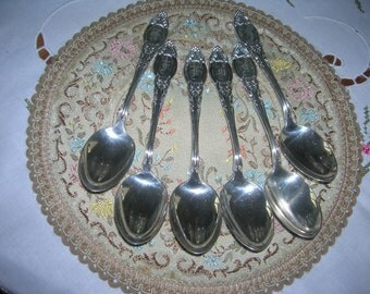 "6 Antique Vintage Silverplate Teaspoons By International Independence Dumont Pattern ""F"" Monogram Circa 1900's"