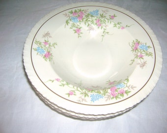 5 Syracuse China Rimmed Soup Bowls Spring Time Pattern Circa 1970's