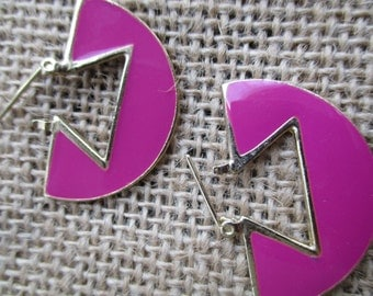 Vintage Pink Enamel Gold Tone Earrings