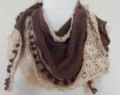 triangle  Bridal Shawl scarf knit flowers neck warmer