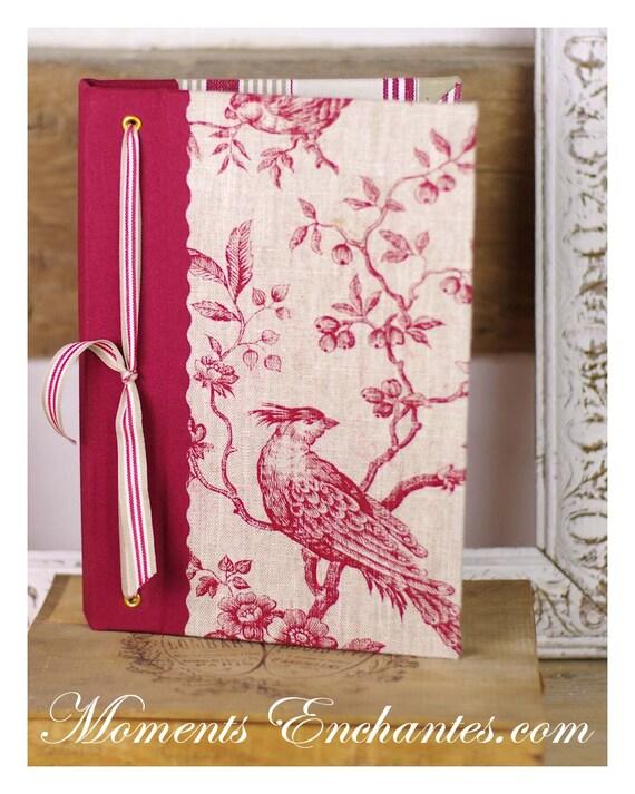 """Carnet des invites  """"L'art de vivre à la française """" Bird  Guest book linen toile de jouy"""
