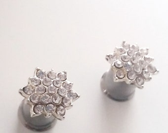 Plugs Gauges 00g 10mm Rhinestone Starburst 316L Surgical Stainless Steel Double Flared Plugs for Stretched Ears-  Tunnels