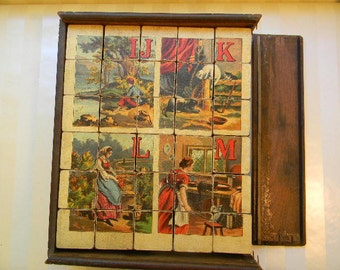 "RARE Antique Cube Puzzles, Aunt Louisa""s Cube Puzzles, Alphabet of Country Scenes, McLoughlin Bros., Book, Wooden Box"