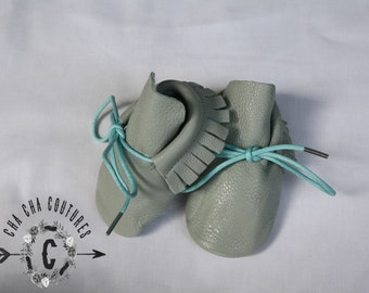WOW! NEW SeaFoam Tie Ups  100% genuine leather baby moccasins Mocs moccs top quality, first birthday,
