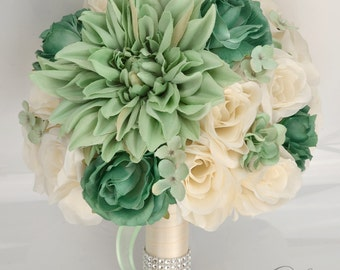"""Wedding Bridal Bouquets 17 Piece Package Silk Flowers Bride Artificial Bouquet Decoration TEAL MINT IVORY Aqua Green """"Lily of Angeles MITE02"""
