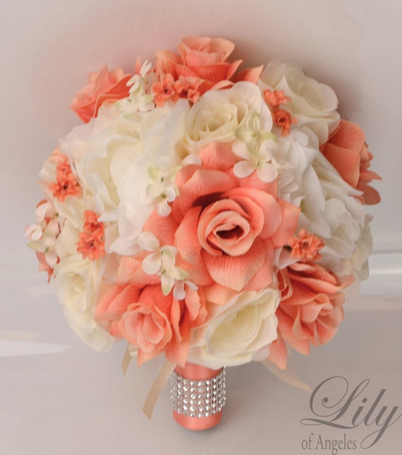 17 piece package silk flowers wedding bouquet artificial for Artificial flowers for wedding decoration