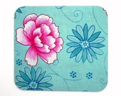 Mouse Pad - Fabric mousepad - Pink and Turquoise flowers - Home office / computer