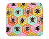 Mouse Pad - Fabric mousepad - Multicolor bees - Home office / computer