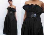 Vintage Couture Designer Frank Usher 1980s Vintage FRANK Origami Ruffle Strapless Dress. Evening Cocktail Prom Party Gown Floor length