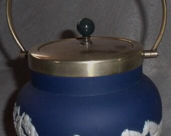 Antique ADAMS, Equestrian Fox Hunt Scene, Jasperware Biscuit Cookie Jar, Blue and White, Signed.