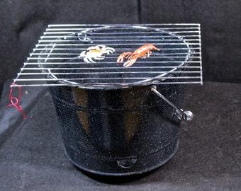 Enamelware, spatterware bbq grill