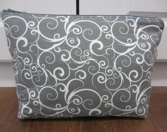 Large Cosmetic Bag, Large Makeup Bag, Travel Pouch, Diaper Bag Pouch, Medication Pouch, Grey Zippered Pouch