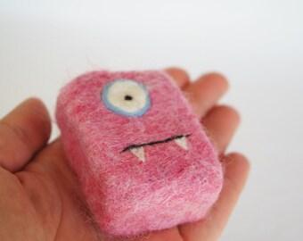 Felted soap Monster pink