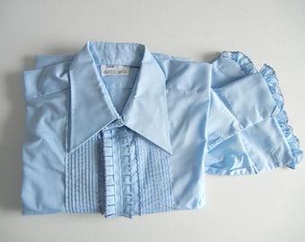 Vintage Shirt, Vintage Tux Shirt, Vintage Tuxedo Shirt, Blue Tuxedo Shirt, Blue Tux Shirt, Retro Tuxedo Shirt, Lounge Tux Shirt, Cotton Blue