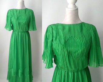 Vintage Green Gown, Maggy Reeves, 1970s Green Maxi Dress, Vintage Maxi Dress, Pleated Chiffon Gown, 70s Grecian Gown, 70s Pleated Dress