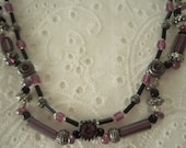 Mauve, Silver and Black Necklace