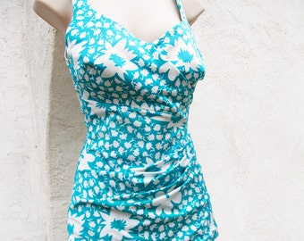 Vintage Swimwear, Pinup, 1960 One Piece Swim Suit, Turquoise Bathing Suit, 60s Ruched Swimsuit, Union Made in the USA