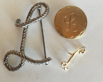 Initial Letter L Brooch Collection Vintage lot 781