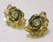 Vintage Gold Tone Rhinestone Rose Screw Back Earrings
