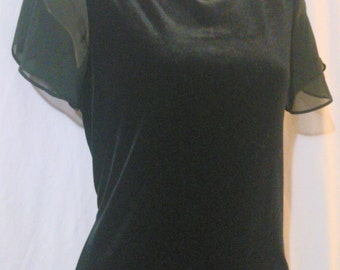 VINTAGE STUDIO Black Velvet and Chiffon Assymetrical Hem Dress Size 4/6 Small