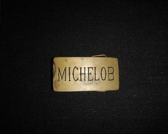 1970's vintage brass Michelob belt buckle