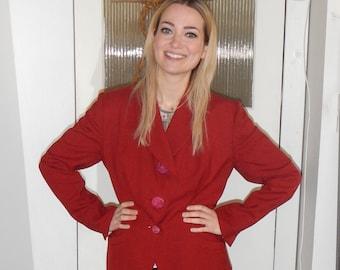1940's red Zelinka Matlick wool suit jacket
