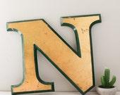 Vintage Shop letter N, Gold Leaf, green trim