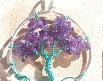 Amethyst Tree of Life Pendant with Silver and Teal Wire
