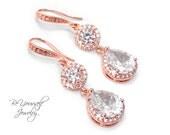 Rose Gold Wedding Earrings Teardrop Bridal Earrings Cubic Zirconia Bride Earrings White Crystal Bridesmaid Gift Pink Gold Wedding Jewelry CZ