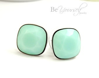 Mint Green Stud Earrings Swarovski Crystal Mint Alabaster Cushion Cut Earrings Bridesmaid Gift Wedding Jewelry Surgical Stainless Earrings
