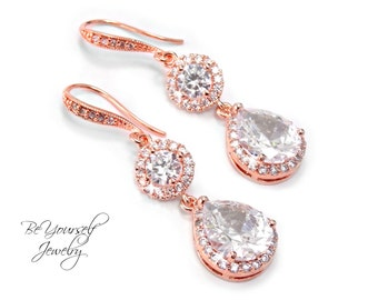 Rose Gold Bridal Earrings White Crystal Teardrop Bride Earrings Cubic Zirconia Wedding Jewelry CZ Bridesmaid Gift Pink Gold Wedding Earrings