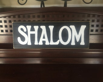 SHALOM in the Home Peace Sign Jewish Hebrew Wall Plaque Wooden Hand Painted You Pick Color Chanukah Ḥanukah Ḥanukkah