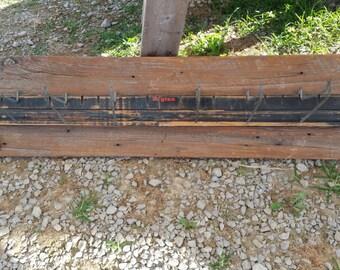 Man Cave, Garage, Coat Rack,  Hat Rack, Vintage Dayton Belt Holder on Barn Wood.  Ready to Hang.