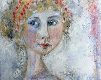 """Captivating - Size: 33x23.5x2 cm  13x9.25x0.5""""   woman, portraiture, vintage, pink, Victorian, pretty"""
