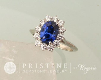 RESERVED Final Payment on Vintage Style Blue Sapphire Diamond Halo Engagement Ring in 18kWhite Gold