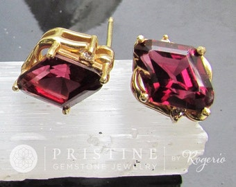Rhodolite Garnet Earrings SALE in 14k Yellow Gold Kite or Diamond Shape January Birthstone Gemstone