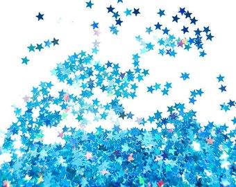 Blue Holographic Star Glitter, SOLVENT RESISTANT, Glitter STARS Glitter Nail Art , Glitter Nail Polish, Glitter Crafts, Blue Glitter