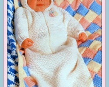 PDF Knitting Pattern - Baby's Chunky Knit Sleeping Bag/Sack or Cocoon & 2 Designs of Blankets Entrelac and Crocheted - Instant Download