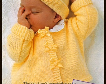 """PDF Knitting Pattern - 3 Designs of Babies/Newborns Cardigans/Waistcoat To Fit 17-23"""" Chests & Beanie Hat - Easy Knit - Instant Download"""