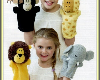 PDF Knitting Pattern To Make Jungle Animals Glove Puppets - Instant Download