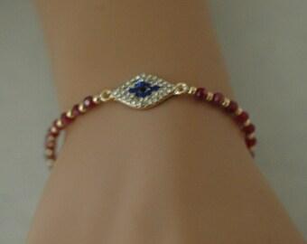 Evil Eye, Red Evil Eye Bracelet, Adjustatble CZ Evil Eye Bracelet, Gift for her, Good luck charm