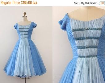 SUMMER SALE vintage 1950s dress // 50s blue evening prom dress