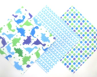 "36 Flannel Pre Cut Rag Quilt Kit in Fun Dinosaurs, Triangles and Dot Print Flannel 6""x6"" Quilt Squares"