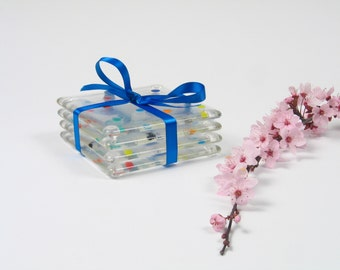 Glass Coasters with Polka Dots Set of 4 / Fused Glass Art / Retro Rainbow Modern Minimal Bright / Hostess Gift / Geometric Home Decor