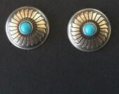 Elegant Sterling Silver and Turquoise Navajo Stud Pierced Earrings