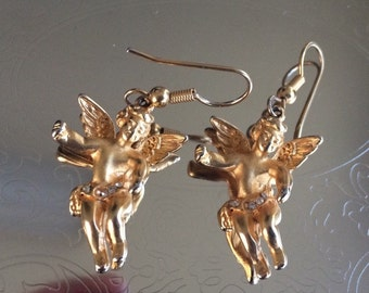 Gold Plated Rhinestone Wearing Cherub Pierced Earrings