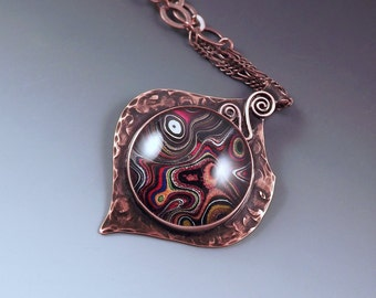 SALE- 10% off- Harley Davidson Fordite- Gorgeous Shimmering Colors- Michigan Made- Copper Fordite Pendant
