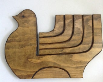 FOLDING Wood BIRD 5 Candle holder. 1960's Vintage Modernist. Mod, Mid century, Danish Modern, Eames era.