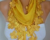 Yellow Floral Cotton Scarf, Fall Summer Scarf,Shawl, Necklace, Cowl , Bridesmaid Gift Gift Ideas For Her, Women Fashion Accessories Scarves