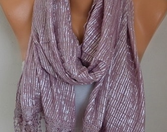 Dusty Pink Pleated Silver Scarf, Metallic Shawl,Glittering, Cowl Bridesmaid Gift Ideas For Her Women's Fashion Accessories Graduation Gift,